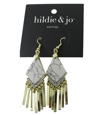 hildie & jo Diamond Gold Dangle Earrings-White Stone