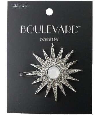 hildie & jo Boulevard Starburst Silver Barrette-Clear Crystals