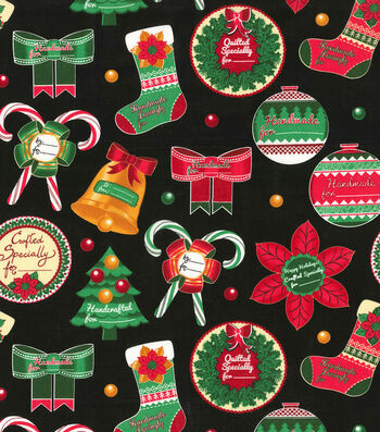 Christmas Holiday Red Tiny Gold Glitter Specks Cotton Fabric Santee By The Yard