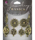 Jewelry Basics Metal Connectors-Antique Gold Mixed 8/Pkg