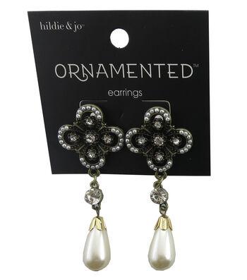hildie & jo Antique Gold Earrings-Pearl Teardrop & Crystal Accent