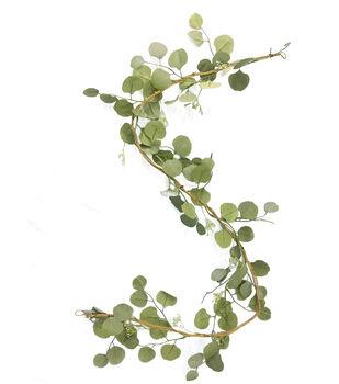 Blooming Autumn Eucalyptus Leaf Garland-Green
