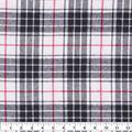 Flannel Shirting Fabric-Ivory Black Red Grid Plaid