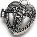 Darice Prayer Box Charm-Antique Silver Heart