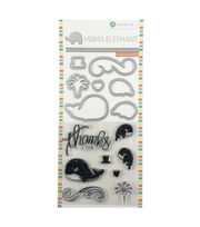 Hampton Art Mama Elephant Clear Stamp & Die Set-Whale Thanks, , hi-res