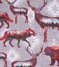 Anti-Pill Plush Fleece Fabric-Wilderness Double Exposure