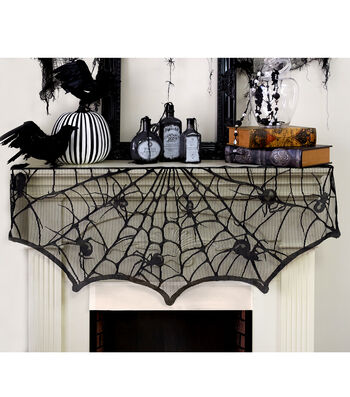 Maker's Halloween Creepy Spiders Lace Mantle Scarf
