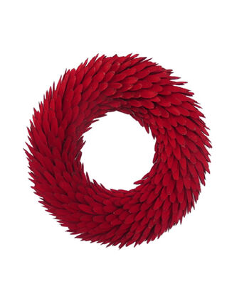 Blooming Holiday 18'' Wood Chip Wreath-Red