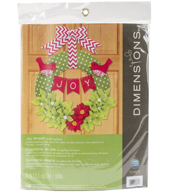 Dimensions Christmas 14'' Round Wreath Felt Applique Kit-Joy