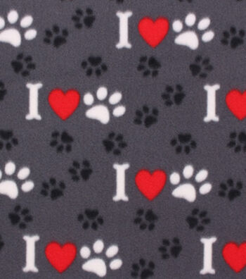 Blizzard Fleece Fabric -Bone Heart Paw