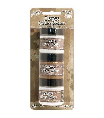 Tim Holtz Distress Collage Mini Mediums 1oz 3/Pkg-Vintage, Matte & Crazing