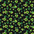 St. Patrick\u0027s Day Cotton Fabric-Glitter Shamrocks on Black