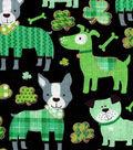 St. Patrick\u0027s Day Print Fabric -Black with Metallic Lucky Dog