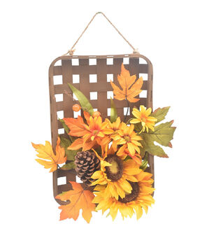 Blooming Autumn Basket Wall Decor with Sunflowers & Daisies-Yellow