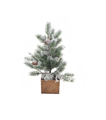 Blooming Holiday Christmas 12'' Tree with Pinecones in Wood Box