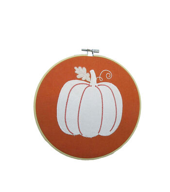 Simply Autumn Embroidery Hoop-Pumpkin
