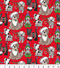Christmas Cotton Fabric 44\u0022-Holiday Pups on Red