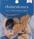 hildie & jo 12 pk 0.53 oz. Oval Plastic Flat Back Rhinestones-Gold