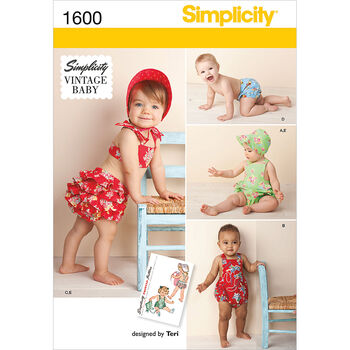 Simplicity Pattern 1600A Infants' Romper Set-Size XXS-L