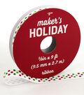 Maker\u0027s Holiday Christmas Ribbon 3/8\u0027\u0027x9\u0027-Red & Lime Pin Dots on White