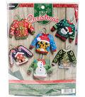 Bucilia Ugly Sweater Ornaments Felt Applique Kit 6 Pack