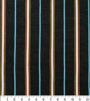 Specialty Cotton Gauze Fabric-Black Multi Stripe