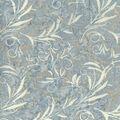 Indonesian Batik Cotton Fabric-White Gray Blue Palm Leaves