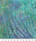 Batik Cotton Fabric 44\u0022-Teal Rainbow Scrolls Metallic