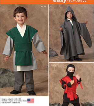 Simplicity Patterns 1037A Boys' Easy to Sew Costumes-Size 3-4-5-6-7-8