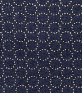 Patriotic Cotton Fabric 43''-Metallic Star Circles on Blue