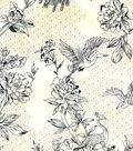 Asian Inspired Cotton Fabric 43\u0022-Asian Floral Sketch Metallic
