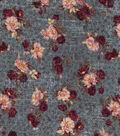 Vintage Cotton Fabric 43\u0027\u0027-Floral Bouquet on Blue