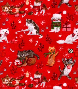 Christmas Snuggle Flannel Fabric-Holiday Kitties on Red