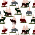 Snuggle Flannel Fabric-Bears & Stags on Cream