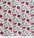 Christmas Cotton Fabric 43\u0022-Floral & Cardinal