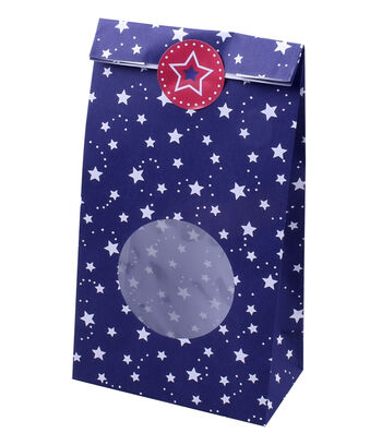 Land of the Free Baking Patriotic 10 pk Treat Bags with Stickers-Stars