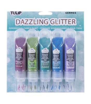 Tulip Dazzling Glitter Dimensional Fabric Paint 2oz 5/Pkg-Gems