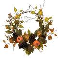 Simply Autumn Fall Pumpkin, Twig, Pinecone & Berry Wreath-Orange
