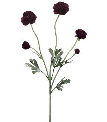 "Bloom Room 28"" Ranunculus Spray-Burgundy"