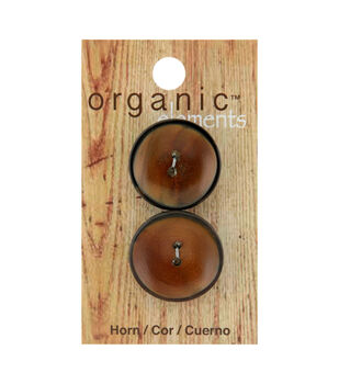 Organic Elements 2 pk 25 mm Round Horn 2 Hole Buttons