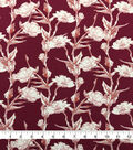 Knit Prints Rayon Spandex Fabric-Burgundy Floral Stems