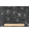 Halloween Cotton Fabric -Sparkle Webs Black