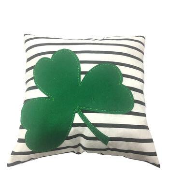 St. Patrick's Day Decor 18''x18'' Pillow-Shamrock Applique on Plaid