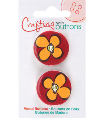 Crafting with Buttons Global Chic 2 pk 1'' Wood Buttons-Fiji