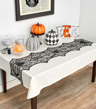 Maker's Halloween 72''x16'' Lace Table Runner-Spiders
