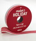 Maker\u0027s Holiday Christmas Knit Ribbon 5/8\u0027\u0027x9\u0027-Red & White Chevron