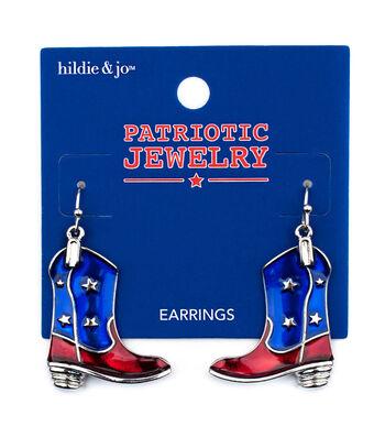 hildie & jo Patriotic Jewelry Cowboy Boot Earrings