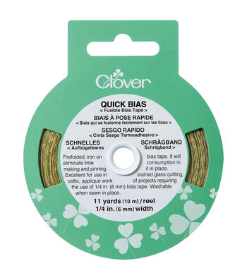 "Clover Quick Bias Fusible Tape-1/4""W x 11yds Gold Lame"
