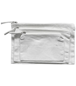 Zipper Bag Set of 3-White