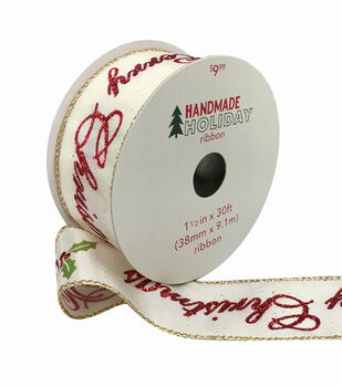Handmade Holiday Christmas Ribbon 1.5''x30'-Merry Christmas on Ivory